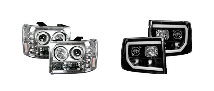 Aftermarket projector headlights for GMC truck