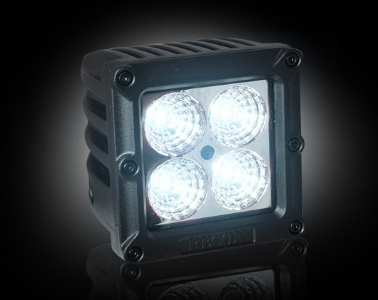 "Square 3"" LED Light w/ Four 5-Watt Flood Pattern CREE XTE LEDs - CLEAR/CHROME"