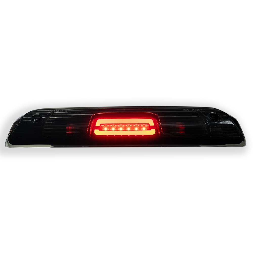 Red lit GMC Sierra & Chevy Silverado 1500 14-18 & 2500/3500 14-19 3rd Brake Light Kit Cree XML LED Smoked