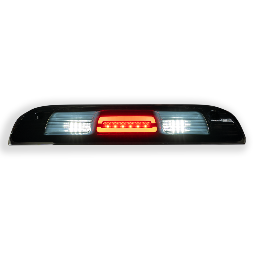 Both lit GMC Sierra & Chevy Silverado 1500 14-18 & 2500/3500 14-19 3rd Brake Light Kit Cree XML LED Smoked