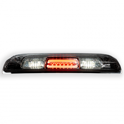 Both lit GMC Sierra & Chevy Silverado 1500 14-18 & 2500/3500 14-19 3rd Brake Light Cree XML LED in Clear