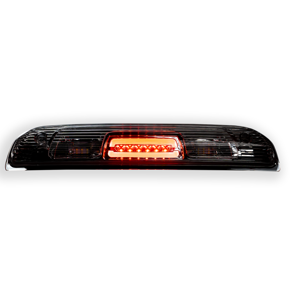 Lit Red GMC Sierra & Chevy Silverado 1500 14-18 & 2500/3500 14-19 3rd Brake Light Cree XML LED in Clear
