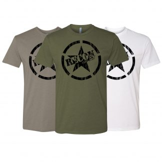 Short Sleeve RECON Army Star Black Logo T-Shirt in 3 colors