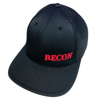 Black RECON Hat w/ Small Red Logo - Non-Adjustable