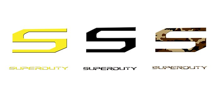 Super Duty acrylic emblem inserts in yellow, black, and camouflage