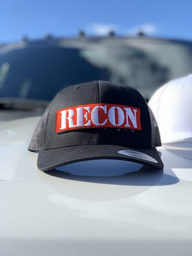 Red Patch w/ White RECON Logo on Black Trucker Hat