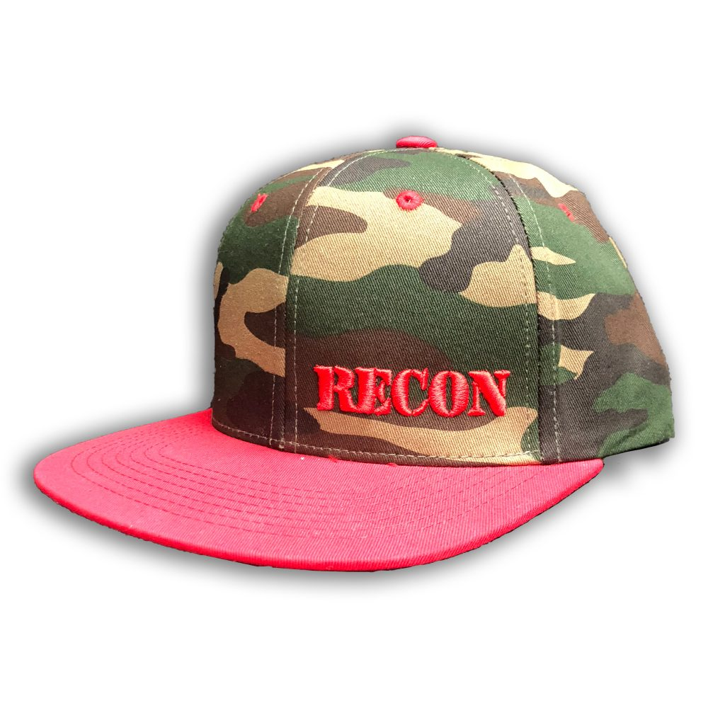 Red RECON Logo on Green Camo Hat w/ Red Bill- Snap Back