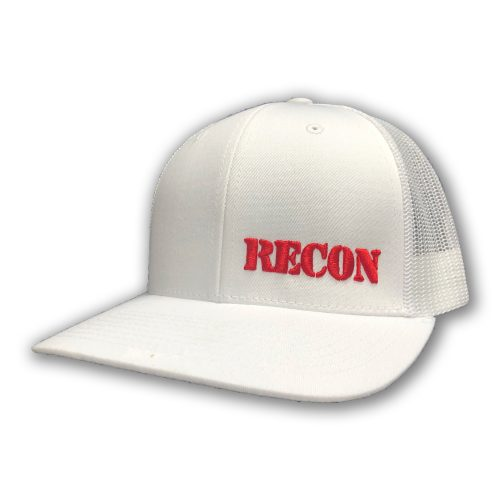 Red RECON Logo on White Trucker Hat