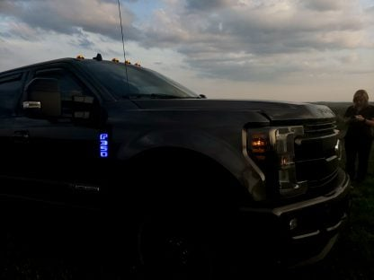 Ford F250 17-19 Illuminated Emblems Black Chrome in Blue 3