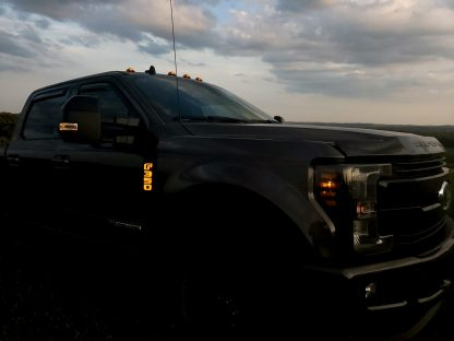 Ford F250 17-19 Illuminated Emblems Black Chrome in amber