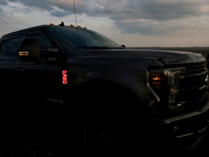 Ford F250 17-19 Illuminated Emblems Black Chrome in red