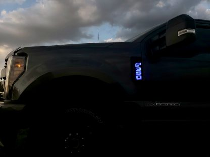 Ford F250 17-19 Illuminated Emblems Black Chrome in Blue