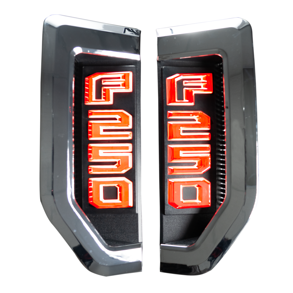 Ford F250 17-19 Illuminated Emblems Chrome in Red