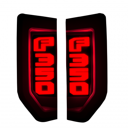 Ford F350 17-19 Illuminated Emblems Black Chrome in Red Illumination
