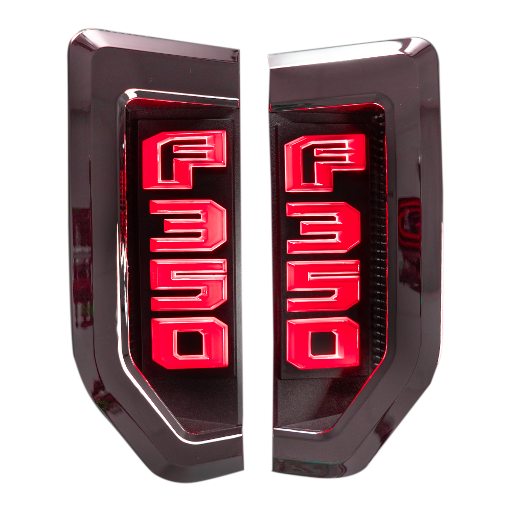 Ford F350 17-19 Illuminated Emblems Chrome in Red