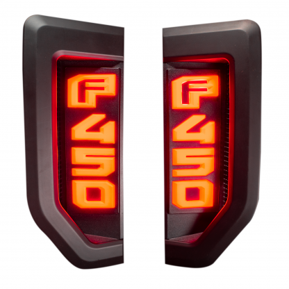 Ford F450 17-19 Illuminated Emblems Black Chrome Red