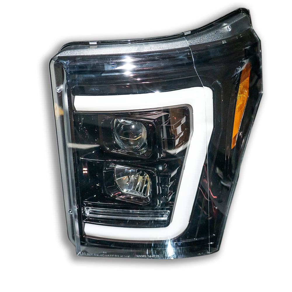 Ford Super Duty 11-16 Projector Headlights OLED DRL LED Signals Smoked/Black