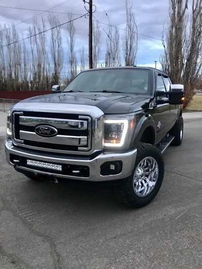 Ford Super Duty F250/350/450/550 11-16 Projector Headlights OLED Halos & DRL Smoked/Black front