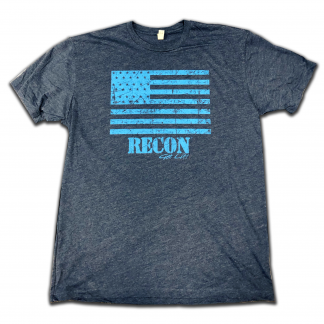 RECON flag shirt with navy and blue design