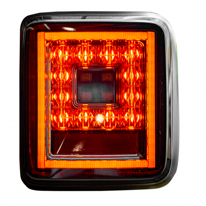 Lit image of Jeep JL Wrangler 18-19 (for Factory OEM Halogen) Tail Lights OLED Smoked
