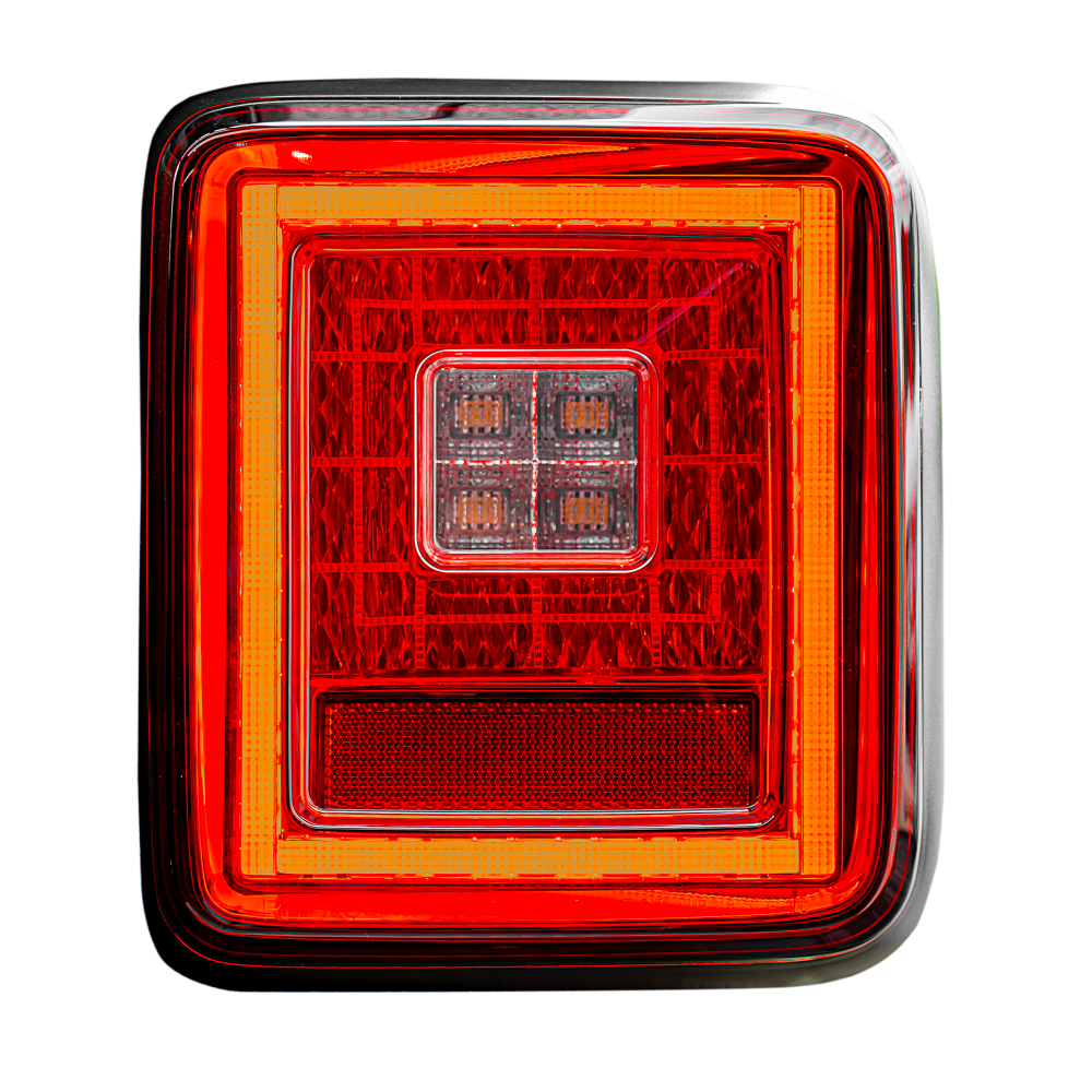 Lit image 2 of Jeep JL Wrangler 18-19 (for Factory OEM Halogen) Tail Lights OLED Smoked