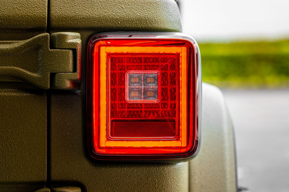 Lit photo of Jeep JL Wrangler 18-19 (for Factory OEM Halogen) Tail Lights OLED Smoked