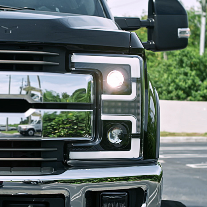 Ford Super Duty 17-19 Projector Headlights OLED DRL, LED Turn Signals Smoked closeup