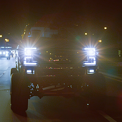 Ford Super Duty 17-19 Projector Headlights OLED DRL, LED Turn Signals Smoked night