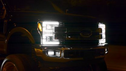Lit Ford Super Duty 17-19 Projector Headlights OLED DRL, LED Turn Signals Smoked