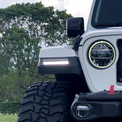 Jeep JL Wrangler / Gladiator 18-20 White OLED DRL with High Power Amber Scanning Switchback OLED Turn Signal 2-Piece Set Clear Clear closeup