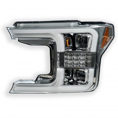 Ford F150 18-19 Projector Headlights OLED DRL LED Turn Signs in Clear/Chrome