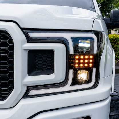 Ford F150 18-19 Projector Headlights OLED DRL, LED Turn Signals Smoked/Black closeup
