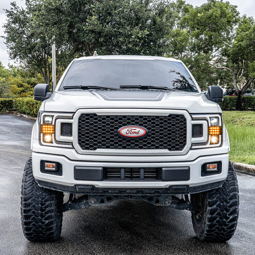 Ford F150 18-19 Projector Headlights OLED DRL, LED Turn Signals Smoked/Black