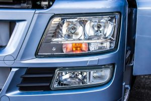 Truck LED headlights close up.
