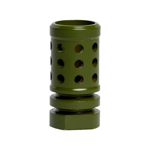 264CBGR101 - Interchangeable Perforated Hole Design Rifle Barrel Antenna Tip Flash Hider - This interchangeable flash hider barrel tip fits RECON Combat Style Antennas - OLIVE DRAB / ARMY GREEN