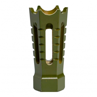 264CBGR103 - Interchangeable Flared & Spiked Door Breacher Design Rifle Barrel Antenna Tip Flash Hider - This interchangeable flash hider barrel tip fits RECON Combat Style Antennas - OLIVE DRAB / ARMY GREEN
