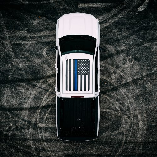 Roof Vinyl Wrap - USA Thin Blue Line Flag