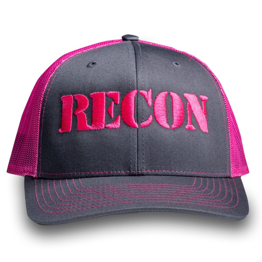RECON Snapback Trucker Hat - Grey/Pink