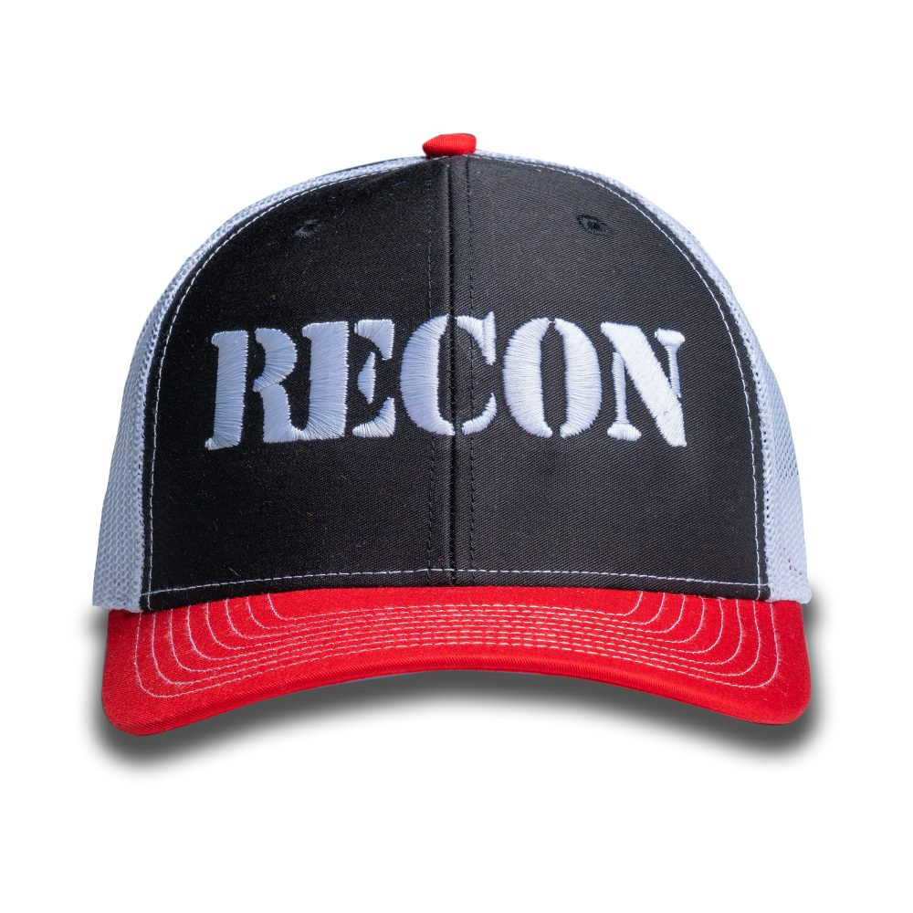 RECON Snapback Trucker Hat - Black/Red/White