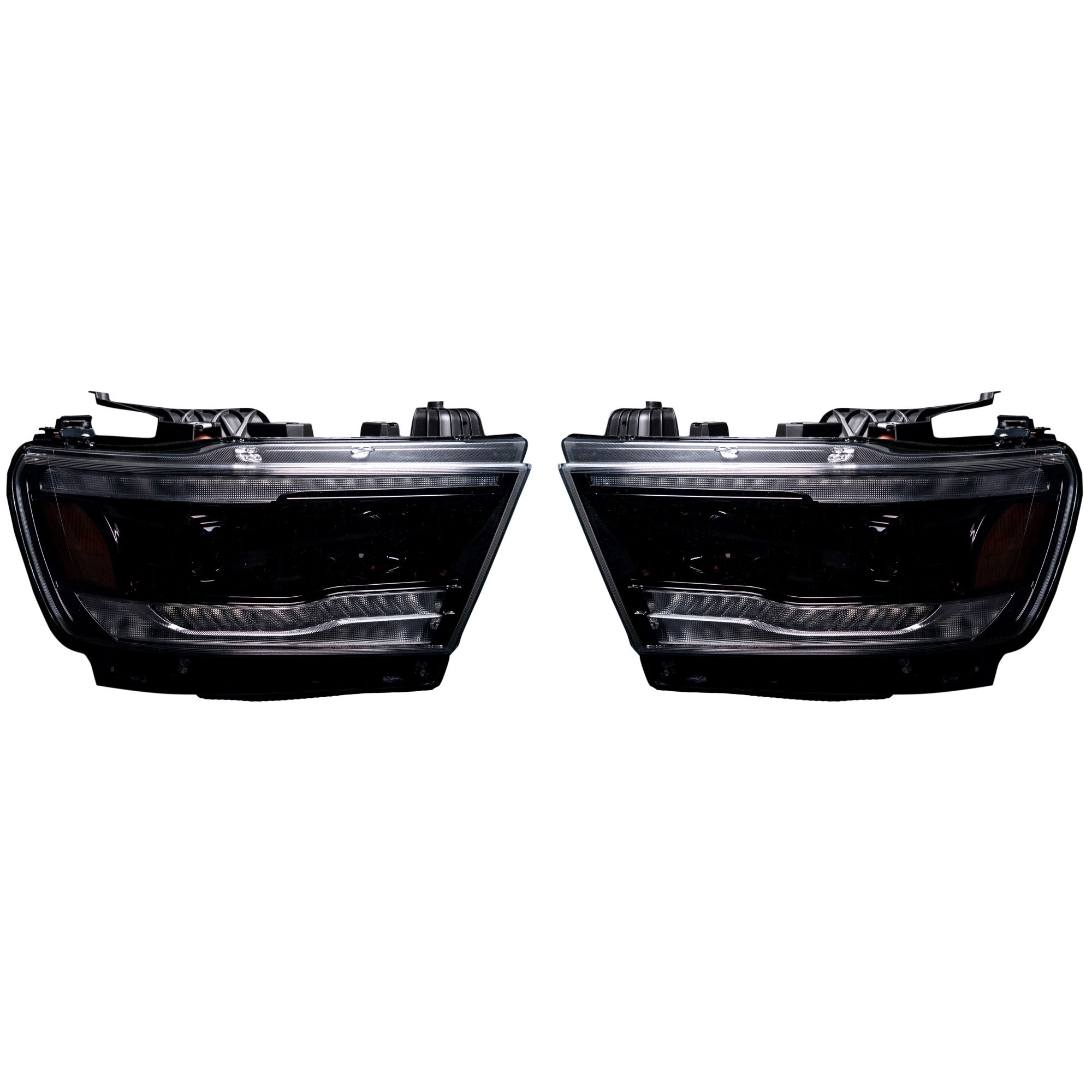 Dodge Ram 1500 19 20 5th Gen Led Hi Low Beam Projector Headlights Oled Drl Scanning Switchback Led Signals Smoked Black Recon